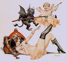 Hérouard, Chéri (b,1881)- Angel & Cupid- 'La Vie Parisienne' -2b Dark Art, Vintage Halloween, Happy Halloween, Angel And Devil, Vintage Posters, Vintage Artwork, Chloe, Diablo, Retro Illustration