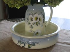 French Enamelware Pitcher and Bowl Vintage 1930s by paprikarose on Etsy https://www.etsy.com/listing/159311394/french-enamelware-pitcher-and-bowl