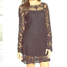 All Over Black Lace And Mesh Inset Elodie Dress