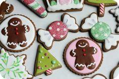 Biscoitos de Natal com cobertura de glace