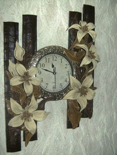 Фирдаус Батдалова Clock Art, Diy Clock, Clock Decor, Indian Wall Decor, Ceramic Sculpture Figurative, Handmade Clocks, Clay Wall Art, Hanging Flower Wall, Sea Crafts