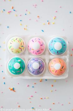Doughnut lovers will love decking out their Easter eggs with colorful sprinkles.  Get the tutorial at Kara's Party Ideas.