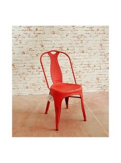 Sedia in ferro stile industriale vintage design colore rosso