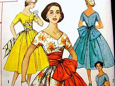 1950's Dress Pattern Simplicity Misses size 16 Uncut Rockabilly Dress Full Skirt Big Bow Sash