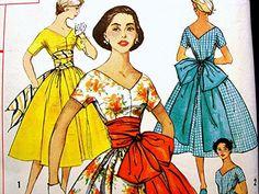 1950's Dress Pattern Simplicity Misses size 16 Uncut Rockabilly Dress Full Skirt Big Bow Sash