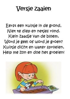 Versje zaaien | Thema : Tuinieren / Bloemen, bijen & vlinders ... Spring School, Close Reading, Cool Kids, Kindergarten, Homeschool, About Me Blog, Family Guy, Classroom, Teaching