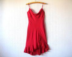 Hot Red Silk Dress Summer Spaghetti Straps Asymmetric Ruffle Tango Dress Sparkle Prom Dress Valentines Day Gift