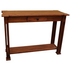 """This 42"""" Amish Mission Parker Sofa Table displays an elegance and simplicity that has stood the test of time. This Amish Sofa Table is built with hand selected solid Red Oak (shown). In addition, this exceptionally durable coffee table is sealed with a conversion varnish that protects this elegant piece from water, oil, alcohol and even nail polish. Furthermore, the drawer features English dovetails and sits on full-extension side mount ball bearings for a wonderfully smooth motion that…"""