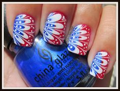 red white and blue water marble w/ polka dots