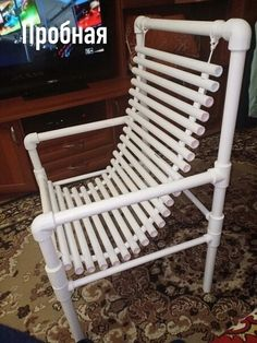 Pvc Pipe Furniture, Recycled Furniture, Home Decor Furniture, Pallet Furniture, Furniture Design, Pvc Pipe Crafts, Pvc Pipe Projects, Diy Wood Projects, Home Projects