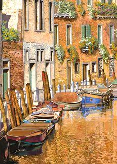Arancio Sul Canale by Guido Borelli - Arancio Sul Canale Painting - Arancio Sul Canale Fine Art Prints and Posters for Sale