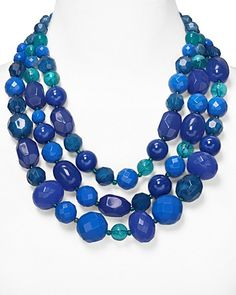 Aqua Multi Layer Beaded Necklace in Deep Blue, 22"