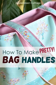 Diy Purse Handles - Better And Prettier! - AppleGreen Cottage See how to make diy purse handles. Prettier, sturdier, and so easy you'll never want to sew your bag straps any other way! See how to make bag handles - easy and beautiful! Sewing Hacks, Sewing Tutorials, Sewing Projects, Sewing Tips, Bag Tutorials, Sewing Box, Sewing Ideas, Sewing Crafts, Diy Projects