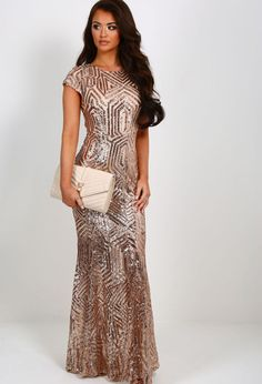 71fe03edf178 Millionaire Rose Gold Sequin Maxi Dress   Pink Boutique Gold Bridesmaid Dresses  Uk, Prom Dresses
