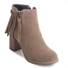 $23.99 Fashion Suede Zip Block Heels Fringe Booties Chic Round Toe Ankle Boots Women's