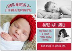 Santa Brought: Peppermint - Winter Boy Birth Announcements in Peppermint   Magnolia Press