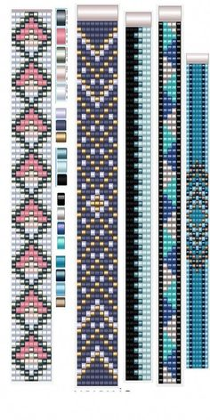 6 Colour Carrier Bead Patterns, Odd Count Peyote, Six-Colour Patterns, Full Word Charts, Colourway 1 Loom Bracelet Patterns, Seed Bead Patterns, Bead Loom Bracelets, Beaded Jewelry Patterns, Beading Patterns, Mosaic Patterns, Beading Ideas, Crochet Patterns, Bead Loom Designs