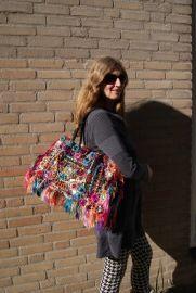 Unieke Louis Asscher designer tas multicolor FRANJES - 47 cm breed x 29 cm - One of a kind  Louis Asscher designer bag multicolor FRINGE
