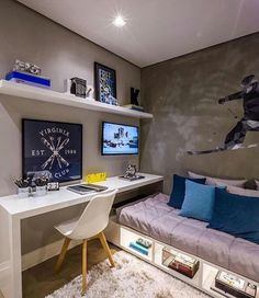 Boys bedroom desk space and under bed storage. Boys bedroom desk space and under bed storage. Bedroom Desk, Small Room Bedroom, Trendy Bedroom, Desk Bed, Budget Bedroom, Small Bedroom Layouts, Tiny Bedroom Design, Small Bedroom Interior, Small Room Design