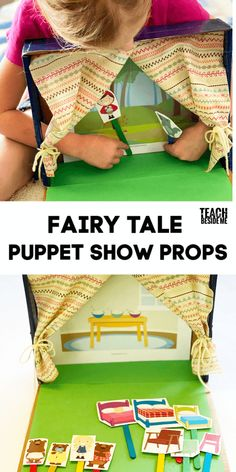 Make your own puppet show theater for your kids! Then use these cute puppet show props to make it even better! Math Games For Kids, Kids Learning Activities, String Crafts, Craft Stick Crafts, Puppet Show For Kids, Fairy Tale Activities, Fabric Yarn, Dramatic Play, Thinking Skills