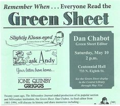 The Green Sheet was in the Milwaukee Journal growing up. My favorite! #vintage #wisconsin #milwaukee