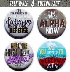 Teen Wolf Buttons  Set of Four 2 Pinback Buttons  by PeppersPins, $10.00
