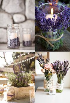 40 Most Charming Lavender Wedding Ideas Lavender Wedding Centerpieces, Lavender Wedding Theme, Lavender Decor, Barn Wedding Decorations, Purple Wedding, Wedding Flowers, Lavender Weddings, Gold Wedding, Wedding Table