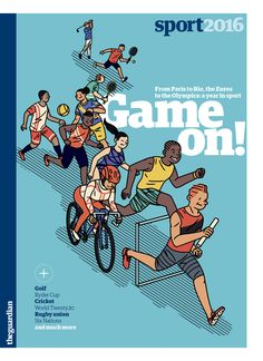 Cover for a 24-page Guardian guide to sport in 2016. The fine illustration gracing the cover is by http://janneiivonen.net