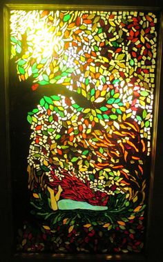 Currently in an Art Gallery - Stained Glass Mosaic Vintage Window Late Autumn Innocence - free shipping