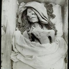 """Queen Tiye mummy in her coffin. Tiye (c. 1398 BC – 1338 BC) was the daughter of Yuya and Tjuyu. She became the Great Royal Wife of the Egyptian pharaoh Amenhotep III. She was the mother of Akhenaten and grandmother of Tutankhamun. Her mummy was identified as """"The Elder Lady"""" found in the tomb of Amenhotep II (KV35) in 1900"""