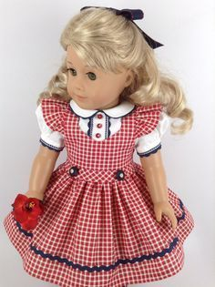 American Girl 18-inch Doll Clothes - Checked Jumper, Blouse, & Petticoat