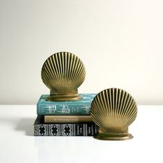 Brass Sea Shell Bookends by Wise Apple Vintage | Fab.com.