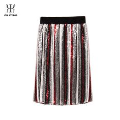 Women Striped Skirt Sexy Sequin Skirt Elastic Waist Vertical Striped Skirt Midi Skirt With Lining Knee length