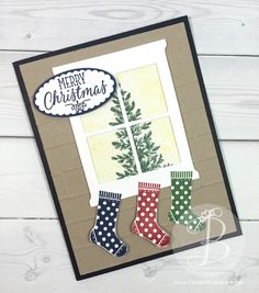Christmas Tree in the window Christmas Card using Lovely As a Tree and Hang Your Stocking stamp sets by Queen B Creations