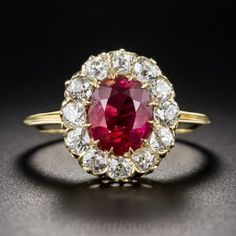 Pretty if it is more red than pink. Love the flower setting. Carat Natural Burma Ruby and Diamond Ring - Vintage Gemstone Engagement Rings - Vintage Engagement Rings Ruby Jewelry, Heart Jewelry, Jewelery, Fine Jewelry, Gemstone Engagement Rings, Vintage Engagement Rings, Gemstone Rings, Victorian Jewelry, Vintage Jewelry