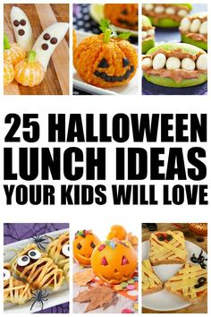 Whether you're hosting a Halloween party, helping out with your kids' class celebration, or just like to be an awesome mom who packs the best school lunches ever, you'll love this collection of 25 Halloween lunch ideas for kids! Halloween Lunch Ideas, Healthy Halloween Snacks, Healthy Lunches For Kids, Halloween Food For Party, Halloween Kids, Halloween Treats, Kids Meals, Lunch Snacks, Lunch Box
