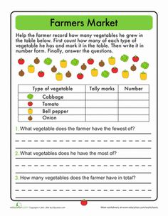 Graphing & Data Worksheets: Tally Time: At the Farmers Market. Tie in with a Farmer's Market discussion for environmentally friendly activities from Kindergarten Science :) First Grade Lessons, Math Lessons, Picture Graph Worksheets, Lentil Nutrition Facts, Nutrition Guide, Nutrition Education, First Grade Math Worksheets, My Father's World, Simple Math