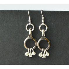 Clarinet Key Earrings, Open Key With Beads