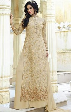 Picture of Exotic Cream Party Wear Palazo Salwar Kameez