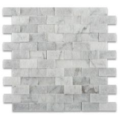 1 X 2 Carrara White Marble Split Faced Brick Mosaic Tile -- backsplash in MB. Calacatta Gold Marble, Marble Mosaic, Mosaic Wall, Mosaic Tiles, Hex Tile, Stone Mosaic, Mosaics, Outdoor Kitchen Countertops, Marble Polishing
