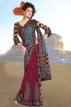 #Designer Maroon #Embroidered Saree