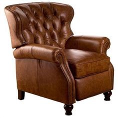 Opulence Home Furniture - Cambridge Reclining Chair - Tufted, Chaps Saddle Leather