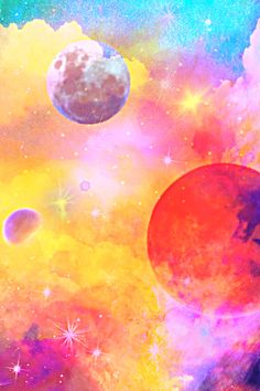 Sunset Universe Wallpaper #glitter #sparkle #galaxy #sky #stars #planets #clouds #cosmos #sunset #pastel #aesthetic #vintage #landscape #universe #cute #girly