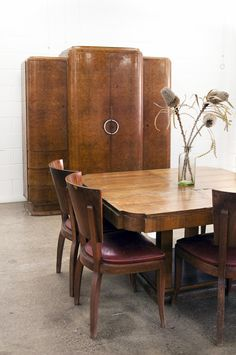 Photography + styling by Good Bones Design. 1930's art deco armoire. Love the table and chairs!