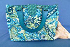 Aqua Paisley Placemat Purse Handbag  OOAK by nitebyrd on Etsy, $15.00