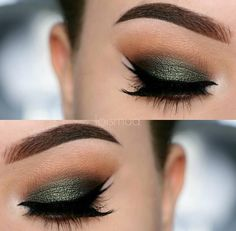 Green eye look deepened with a black outer v and a peachy transition shade