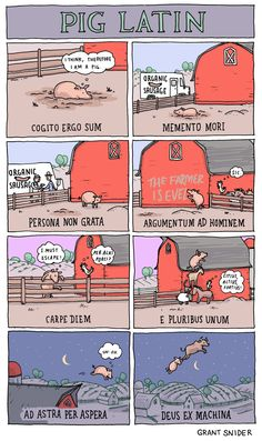 Grant Snider of Incidental Comics turns the definition of Pig Latin on its head.