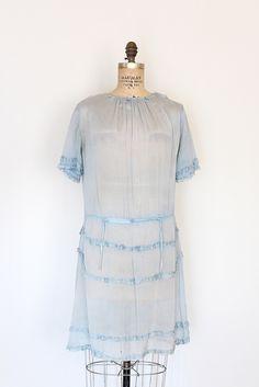 vintage 1920s dress // 20s silk chiffon dress // pale blue flapper.