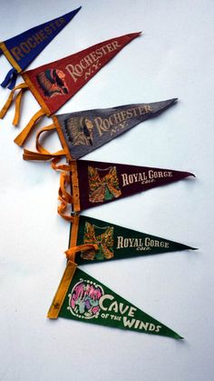 Vintage Souvenir Pennant Flags, Rochester NY, Colorado, New Orleans