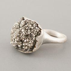 rough cut pyrite ring